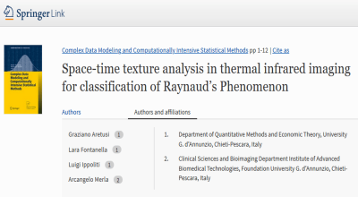 Space-Time Texture Analysis in Thermal Infrared Imaging for Classification of Raynaud's Phenomenon (G. Aretusi et al.)