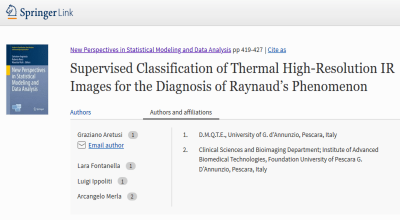 Supervised Classification of Thermal High-Resolution IR images for the diagnosis of Raynaud's Phenomenon (G. Aretusi et al.).