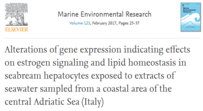 Alterations of gene expression indicating effects on estrogen signaling and lipid homeostasis in seabream hepatocytes exposed to extracts of seawater sampled from a coastal area of the central Adriatic Sea – Italy (G. Aretusi et alii).