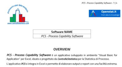 Software. PCS – Process Capability Software