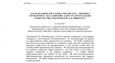 Anatocismo ed usura nei mutui. Profili civilistici: alla ricerca di un linguaggio comune tra matematica e diritto.