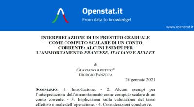 Interpretazione di un prestito graduale come computo scalare di un conto corrente: alcuni esempi per l'ammortamento francese, italiano e bullet