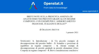 Brevi note sulla presunta assenza di anatocismo nei prestiti graduali in regime composto, con esempi per l'ammortamento francese, italiano e bullet