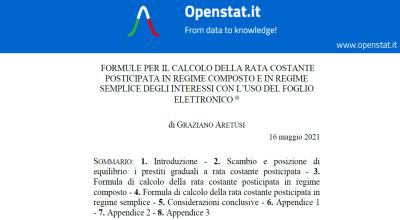 Formule per il calcolo della rata costante posticipata in regime composto e in regime semplice degli interessi con l'uso del foglio elettronico